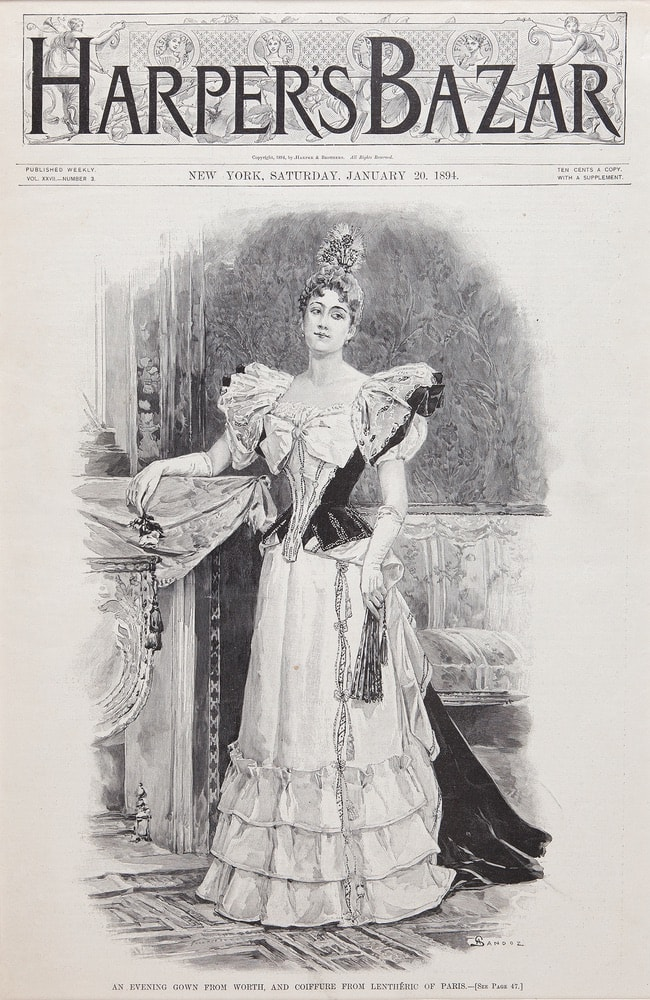 The black and white cover from Harper's Bazar 1894.