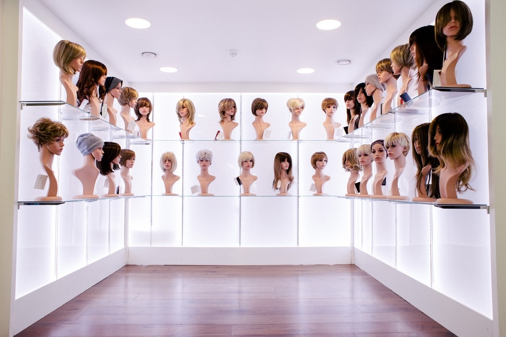 Room of wigs at Bellissimo full of different of styles and personalization for clients.