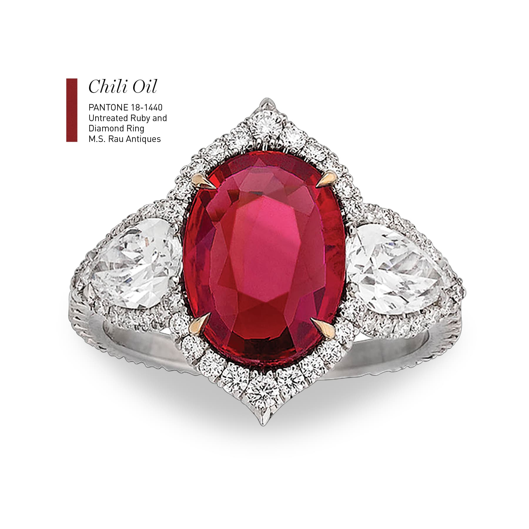 Untreated Ruby and Diamond Ring