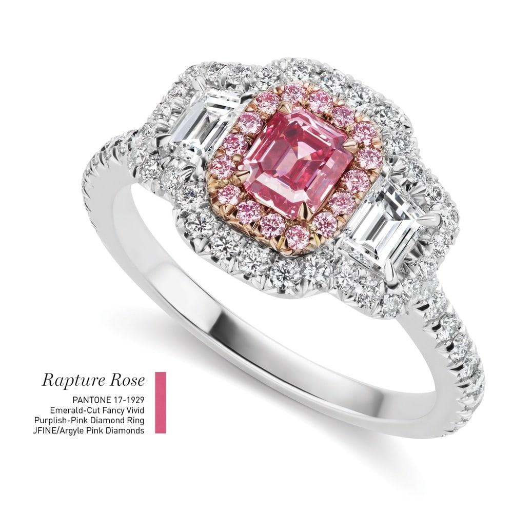 Emerald-Cut Fancy Vivid Purplish-Pink Diamond Ring