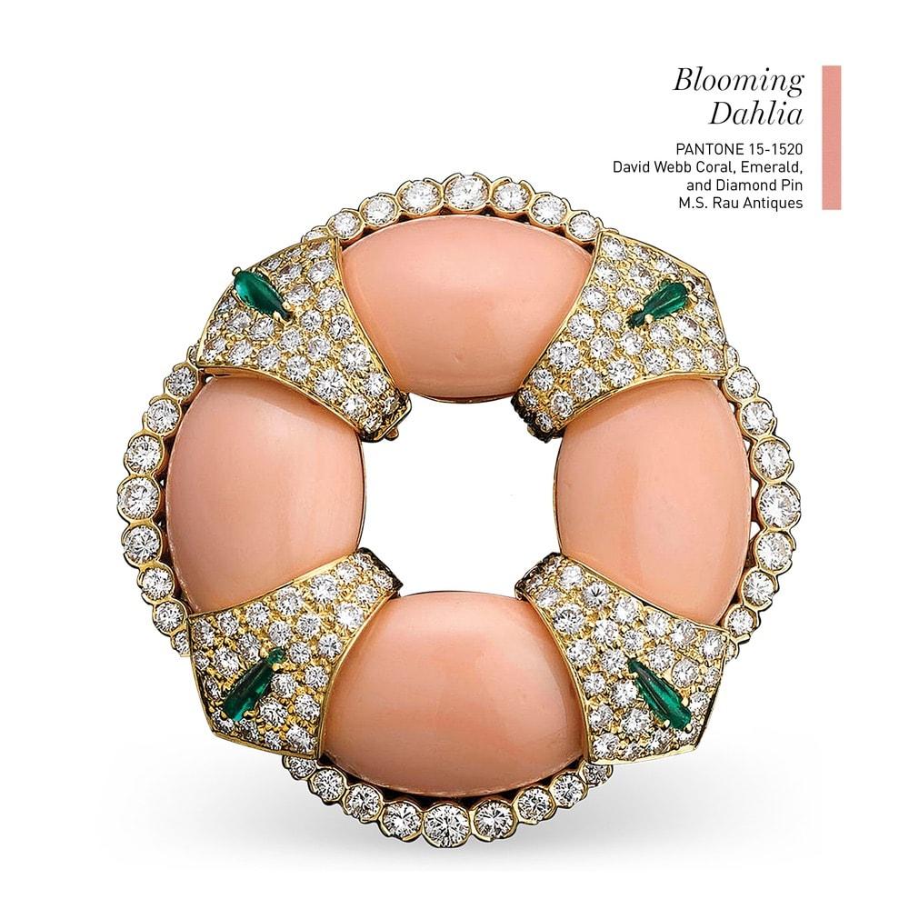 David Webb Coral, Emerald, and Diamond Pin