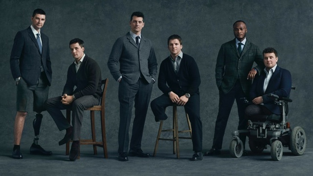Wounded servicemen sporting custom-tailored clothing provided by Style for Soldiers