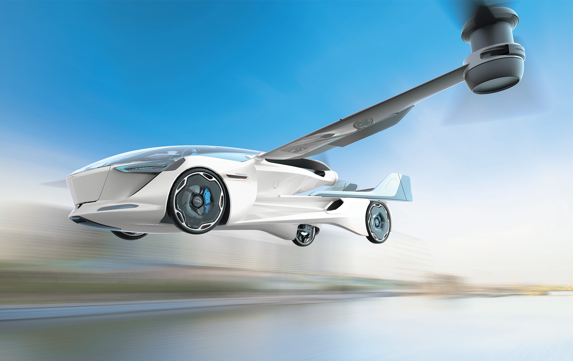 The AeroMobil 5.0 VTOL—This four-seat concept has two electrically driven rotors for vertical takeoff with horizontal thrust from an electric-powered rear-mounted pusher propeller. Each occupant will have a personalized in-flight experience, with flight or drive data, and advanced communications and media to ensure occupants stay connected while in the air or on the road. The company expects the AeroMobil 5.0 to be available within seven to ten years, in line with the reality of building and scaling the infrastructure and regulation for such innovative personal transportation. Artist rendering courtesy of AeroMobil.