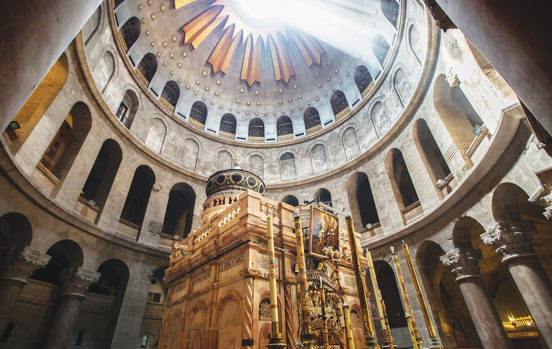The majestic domed ceiling over Christ's grave in the Church of the Holy Sepulchre
