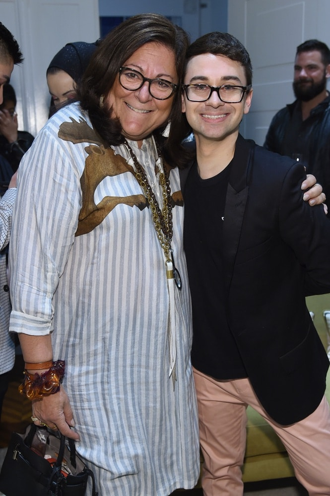 Fern Mallis and Christian Siriano attend the opening of Christian Siriano's new store, The Curated NYC, hosted by Alicia Silverstone and sponsored by VIE Magazine on April 17, 2018, in New York City. Photo by Jamie McCarthy/Getty Images for Christian Siriano