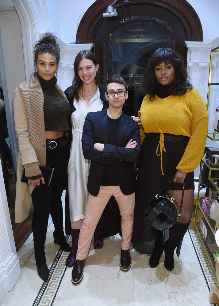 Precious Lee, Georgia Pratt, Christian Siriano, and Marquita Pring attend the opening of Christian Siriano's new store, The Curated NYC, hosted by Alicia Silverstone and sponsored by VIE Magazine on April 17, 2018, in New York City. Photo by Jamie McCarthy/Getty Images for Christian Siriano