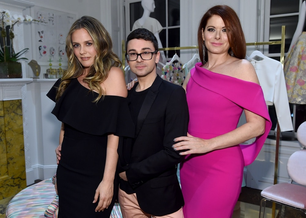 Alicia Silverstone, Christian Siriano, and Debra Messing attend the opening of Christian Siriano's new store, The Curated NYC, hosted by Alicia Silverstone and sponsored by VIE Magazine on April 17, 2018, in New York City. Photo by Jamie McCarthy/Getty Images for Christian Siriano