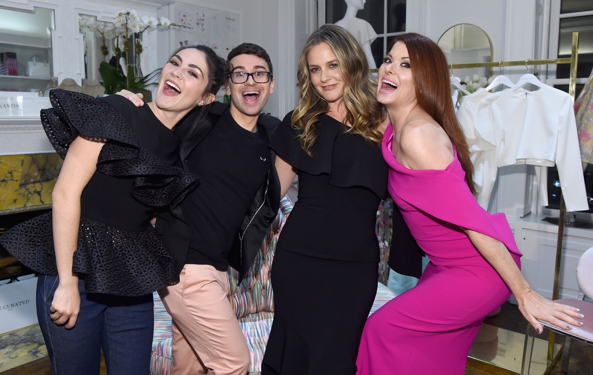 Isabelle Fuhrman, Christian Siriano, Alicia Silverstone and Debra Messing attend the opening of Christian Siriano's new store, The Curated NYC, hosted by Alicia Silverstone and sponsored by VIE Magazine on April 17, 2018, in New York City. Photo by Jamie McCarthy/Getty Images for Christian Siriano