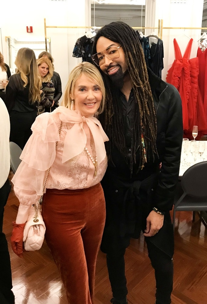 VIE Magazine's editor-in-chief Lisa Burwell and celebrity stylist Tyrone Hunter attend the opening of Christian Siriano's new store, The Curated NYC, hosted by Alicia Silverstone and sponsored by VIE Magazine on April 17, 2018, in New York City.