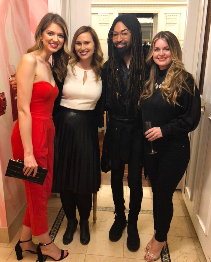 Hannah Vermillion, Crystal Hamon, Tyrone Hunter, and Brooke Miller at the opening of Christian Siriano's new store, The Curated NYC, hosted by Alicia Silverstone and sponsored by VIE Magazine on April 17, 2018, in New York City.