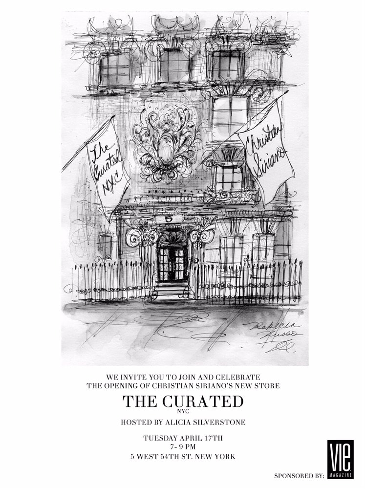 Invitation to the opening of Christian Siriano's new store, The Curated, hosted by Alicia Silverstone and sponsored by VIE Magazine on April 17, 2018, in New York City.