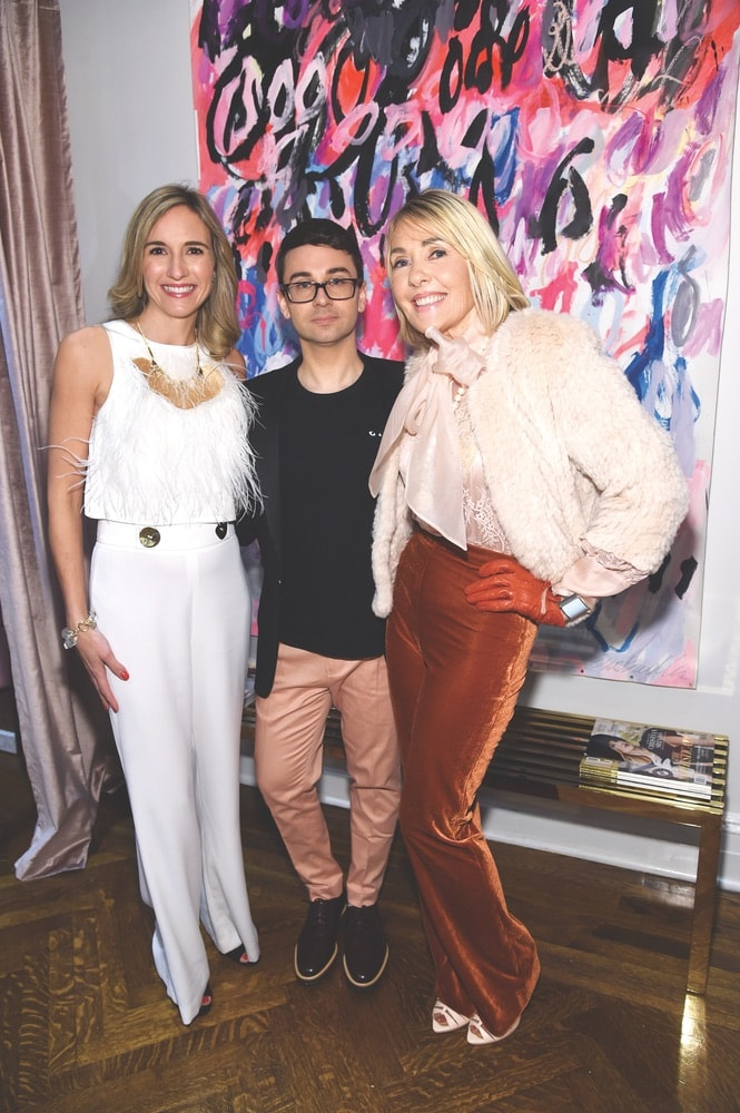 Tracey Thomas, fashion designer Christian Siriano and VIE Magazine's editor-in-chief Lisa Burwell attend the opening of Christian Siriano's new store, The Curated, hosted by Alicia Silverstone and sponsored by VIE Magazine on April 17, 2018, in New York City.