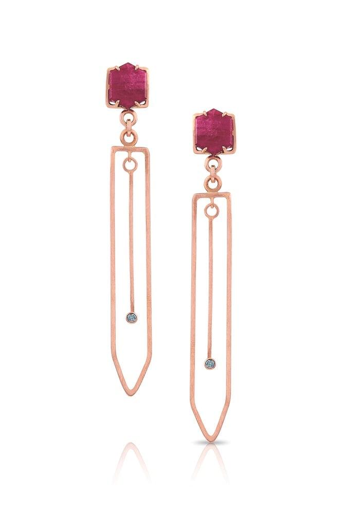 Fabia Ruby, Sapphire, and 14-Karat Rose Gold Earrings