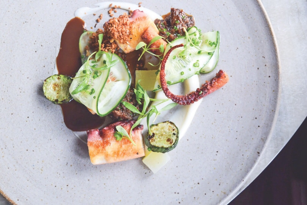 Menu items at Boka echo its sophisticated-chic vibe with a hint of fun, like the braised Spanish octopus with fennel, horseradish, and burnt hazelnut.