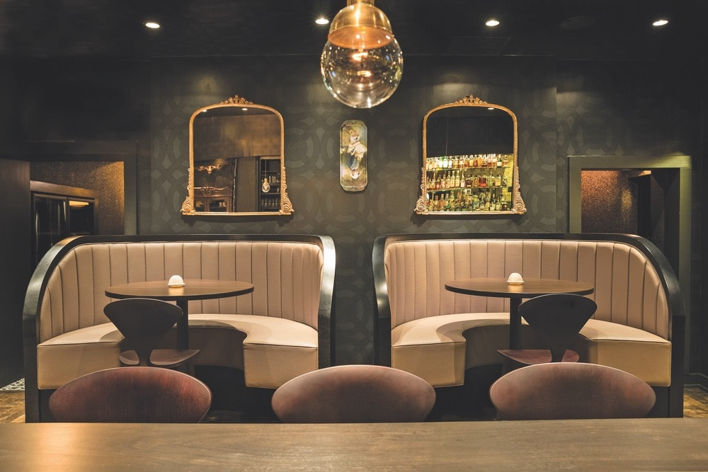Cozy and luxurious booths at Boka invite intimate conversation and an unforgettable evening.