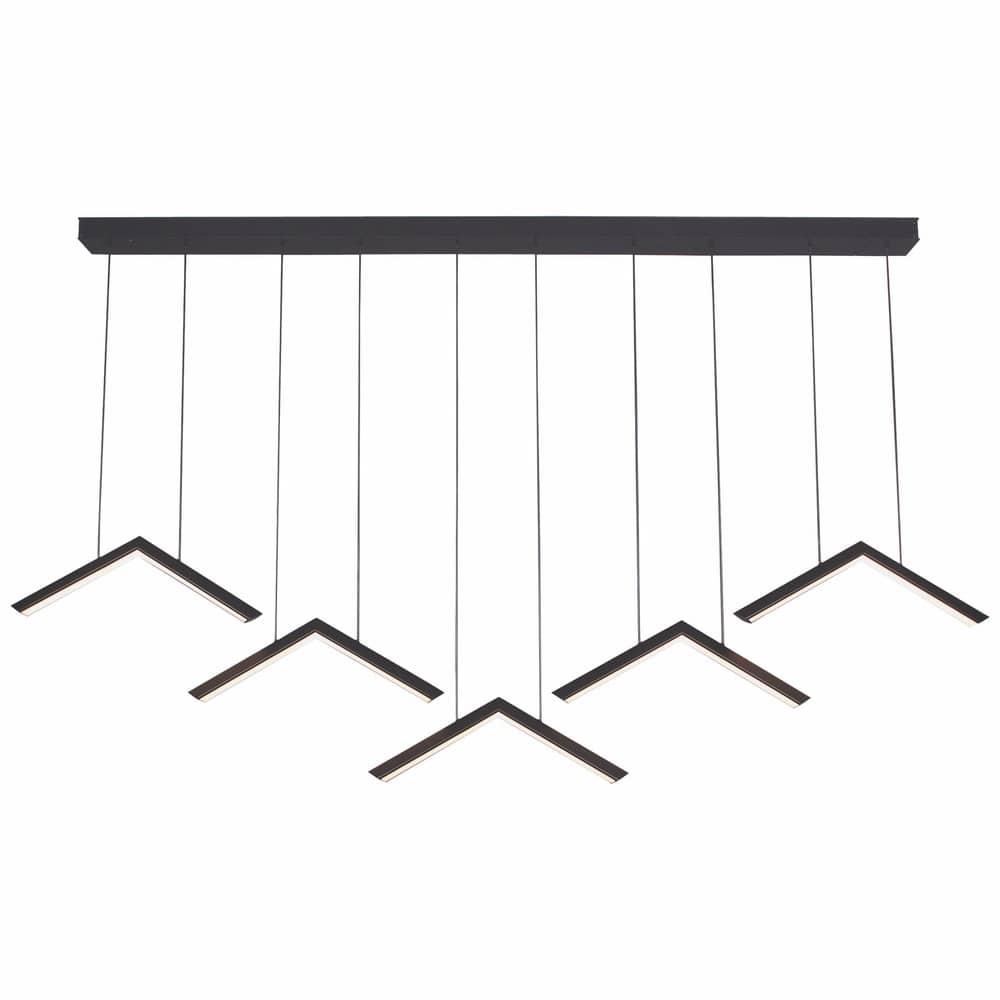 Contemporary Geometric Modern LED Linear Chandelier, Alpine V Light Fixture