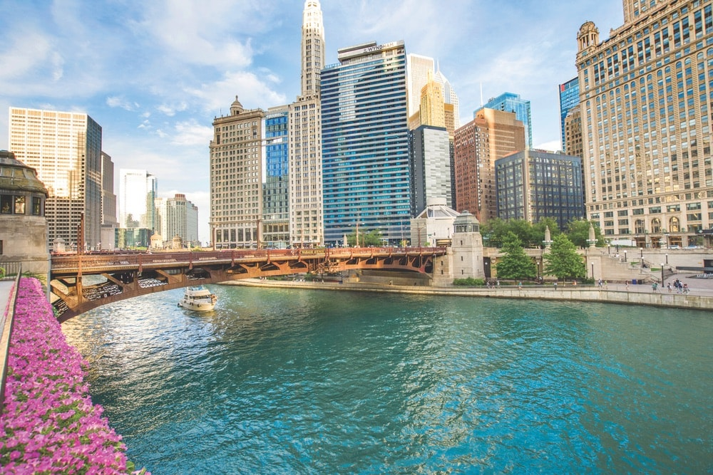 The Chicago River Riverwalk is the perfect spot for a stroll or taking in the sights of the city.