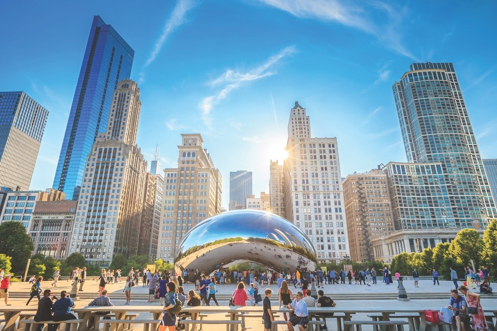 One of the most iconic symbols of Chicago is the Cloud Gate sculpture, commonly known as the Bean, at Millennium Park.