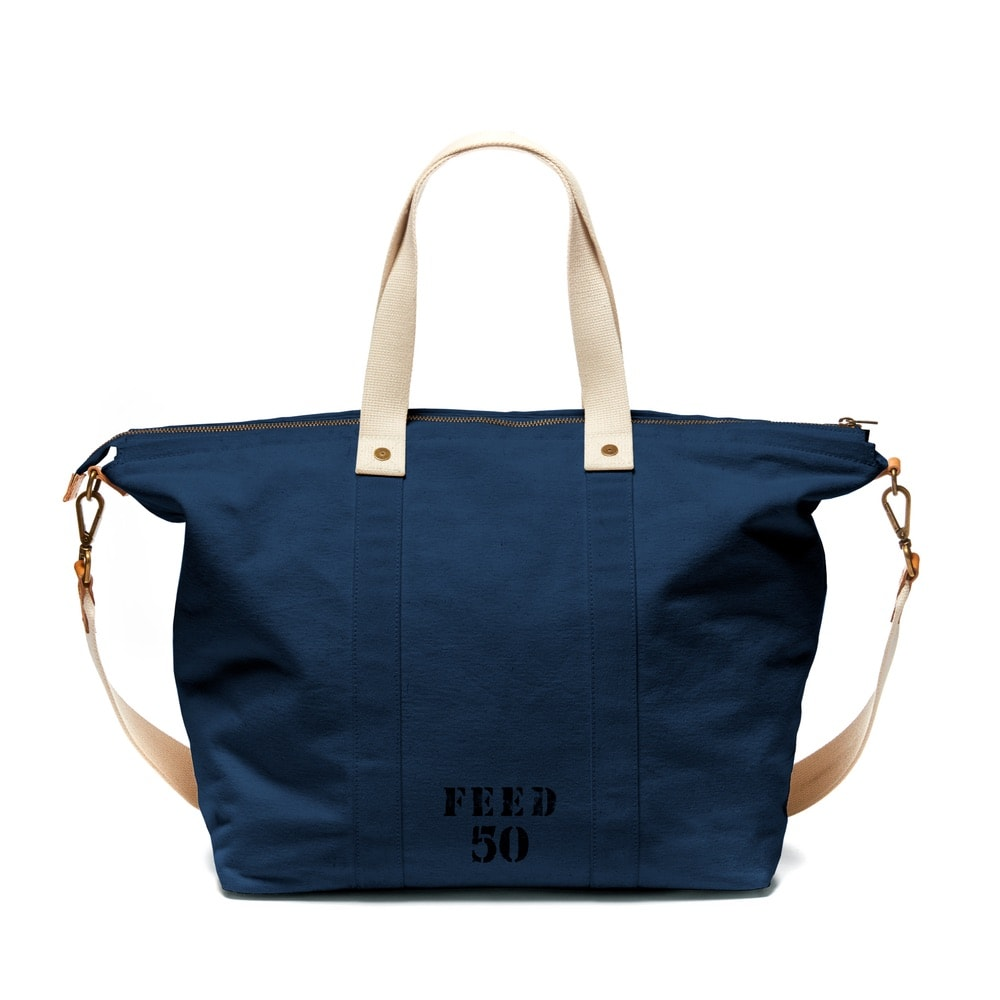 FEED's travel collection's overnighter bag in navy