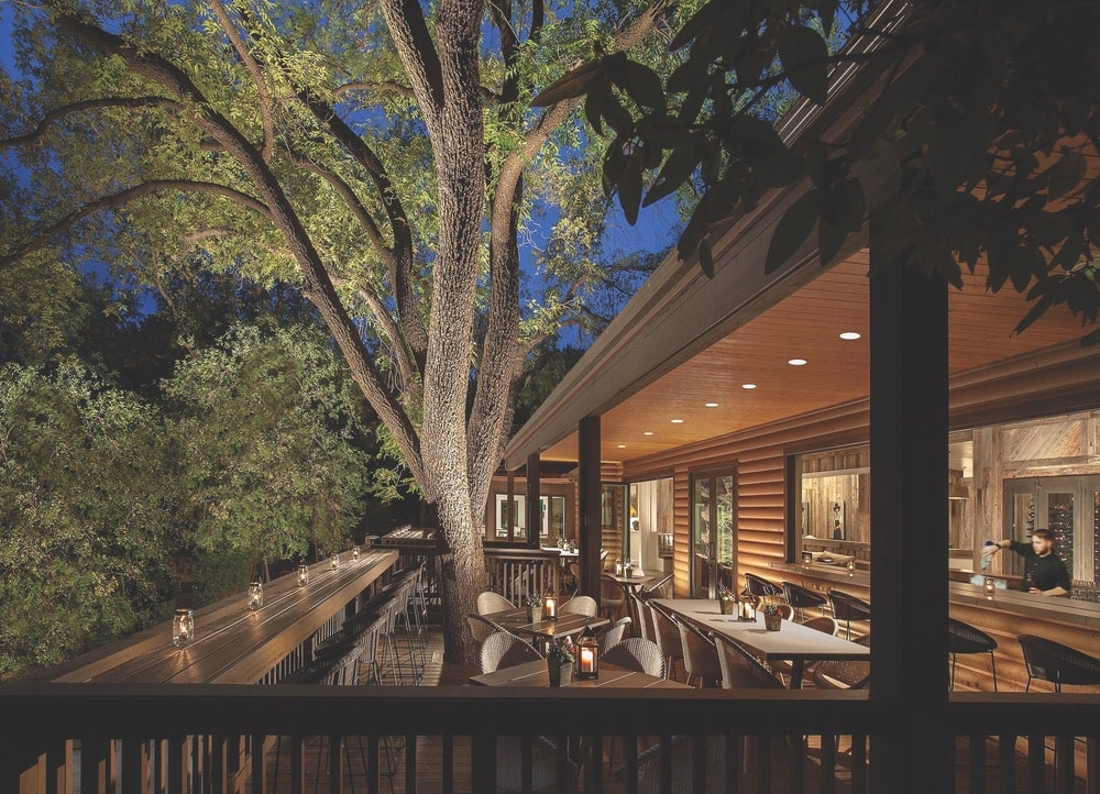 A view of the terrace at night through the trees at L'Auberge's Etch Kitchen & Bar, situated beneath towering sycamore trees.