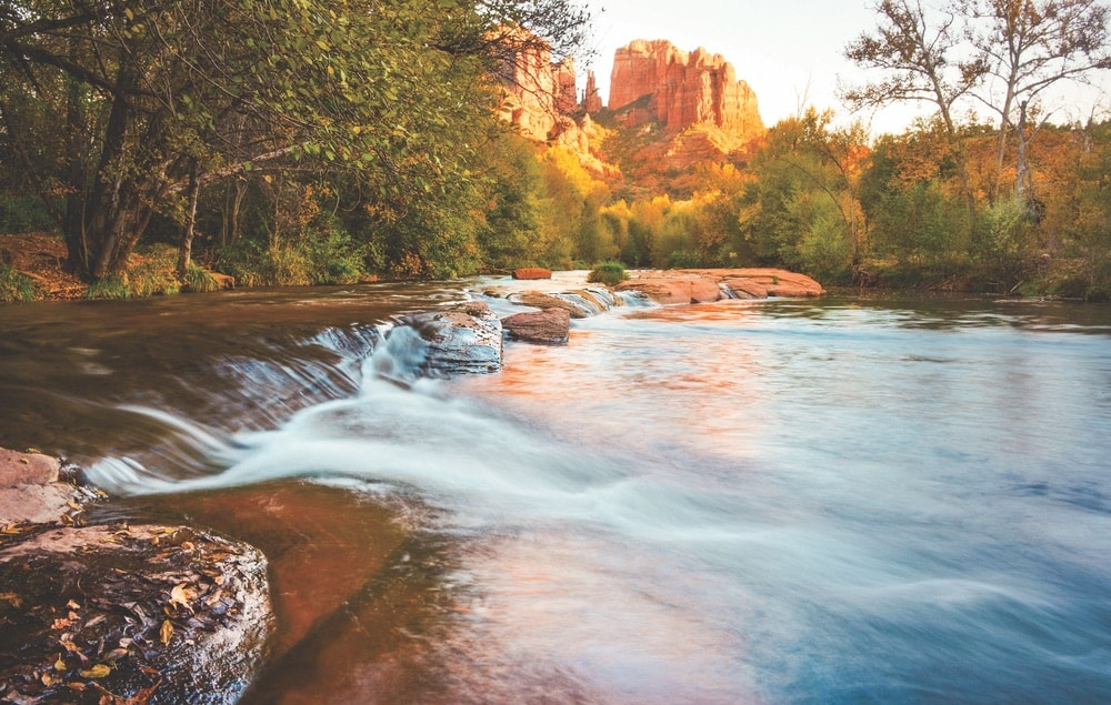 A picturesque view of the water at Red Rock State Park from Oak Creek near L'Auberge de Sedona in Arizona