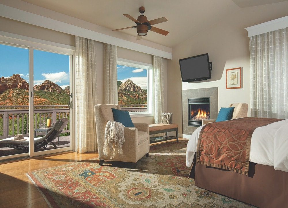 View of the interior of the Vista Cottage during the day at L'Auberge de Sedona in Arizona.
