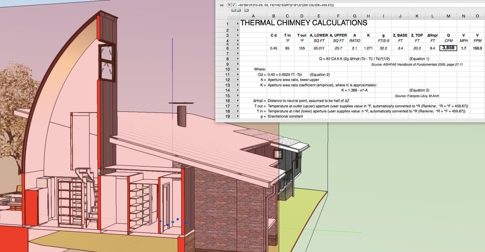 The thermal chimney's east, south, and west orientations are heavily glazed to encourage heating its upper air, which entrains lower, cooler air as it rises and is exhausted from the south window. The author's thermal chimney calculation worksheet is integrated in the BIM project file to help assess the performance implications of variations of design variables, primarily thermal chimney height and inlet and outlet aperture areas.