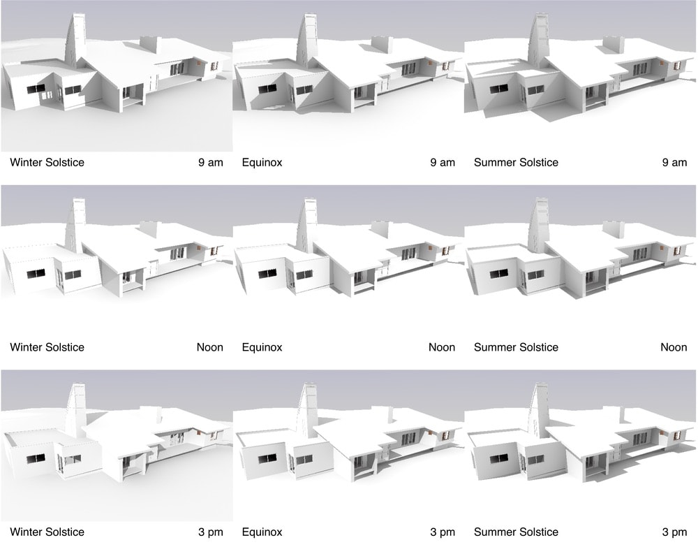 These sun studies are representative of the types of solar animations undertaken to ensure that various solar chimney configurations would not interfere with photovoltaic collection throughout the year.