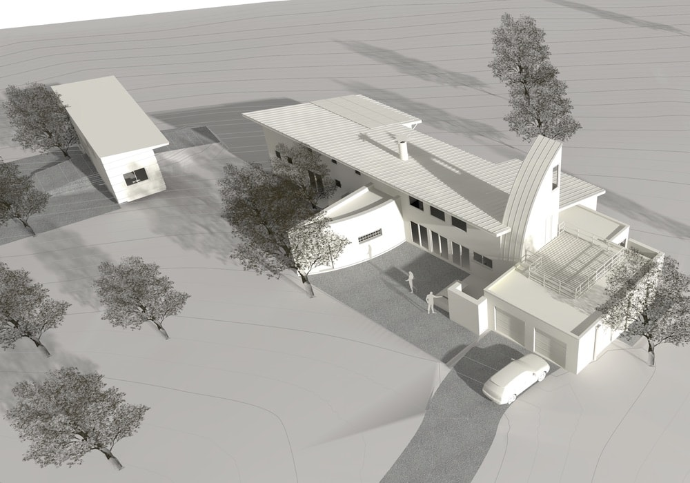 """A white """"museum board"""" rendering of the Boussoleil project, emphasizing the solar-optimized roof and curved thermal chimney. A small detached studio and guest cottage is oriented facing true south, top left. This rendering (as well as the others in this case study) were produced in Vectorworks Architect software, a BIM-authoring application."""