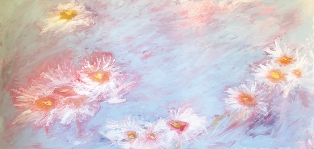 Jessica Hathorn's painting of water lilies inspired by the Botanical Gardens in Birmingham, Alabama