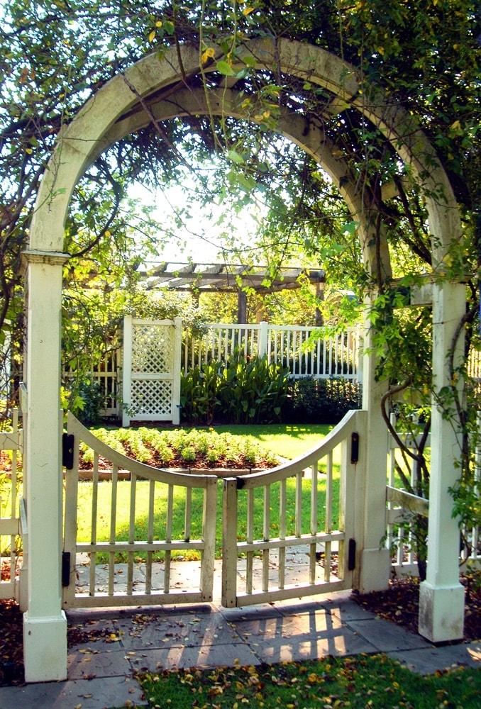 Arches from gate post in the Birmingham Botanical Garden in Birmingham, Alabama.