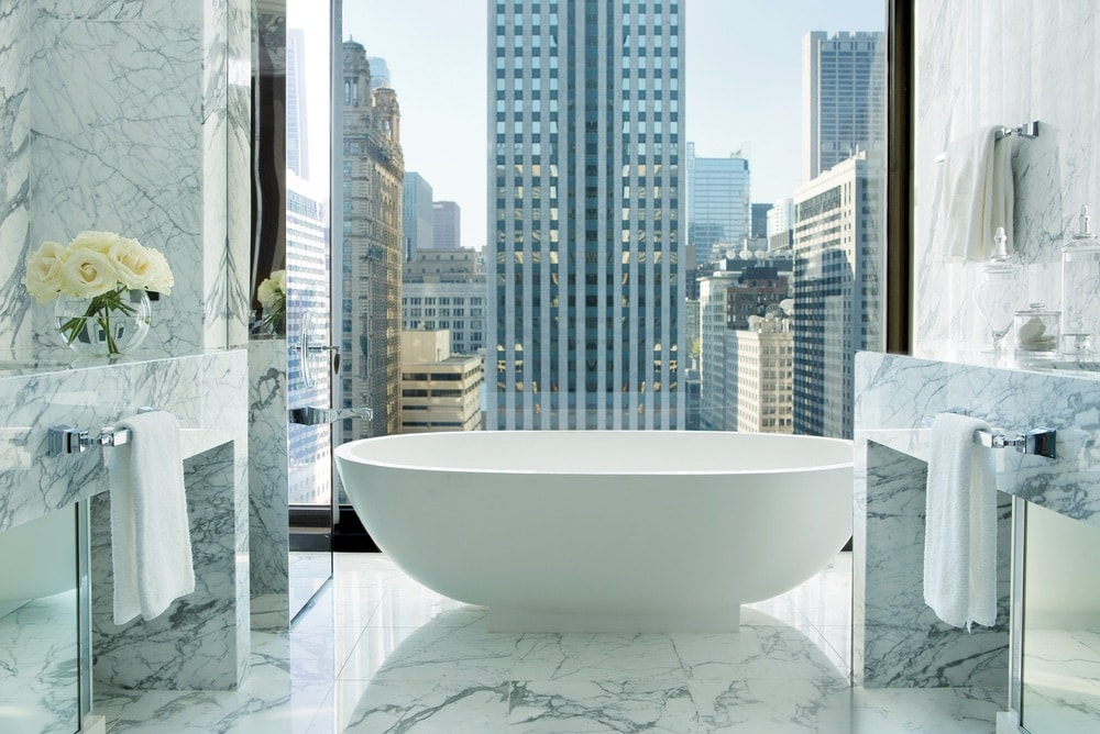 Floor-to-ceiling windows in guest rooms and suites showcases the wonders of the city's skyline and the Chicago River. The buildings from 860–880 Lake Shore Drive represent some of the iconic structures designed by Mies.