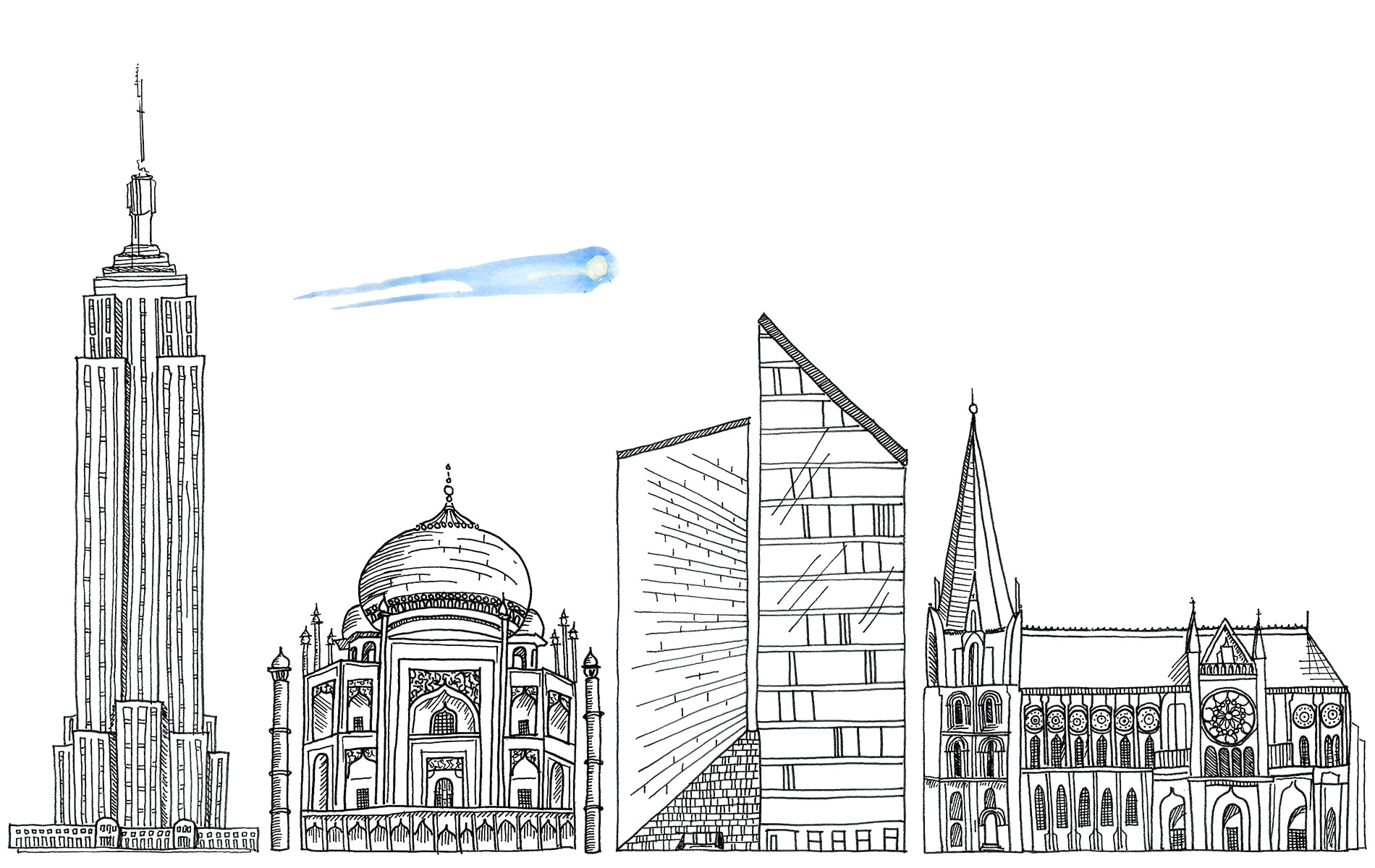 Illustrations of Cathedral de Chartrés, Empire State Building, Penzoil Place, and Taj Mahal