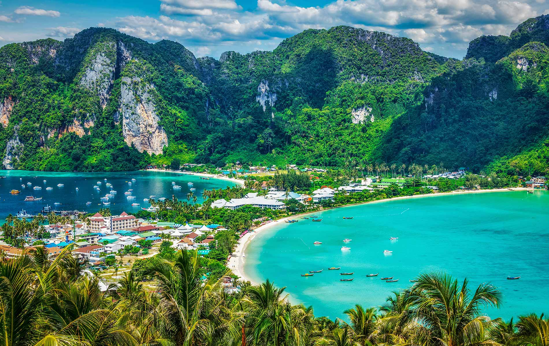 Bird's eye view of the tropical Phi Phi Islands in Thailand's favorite Krabi Province