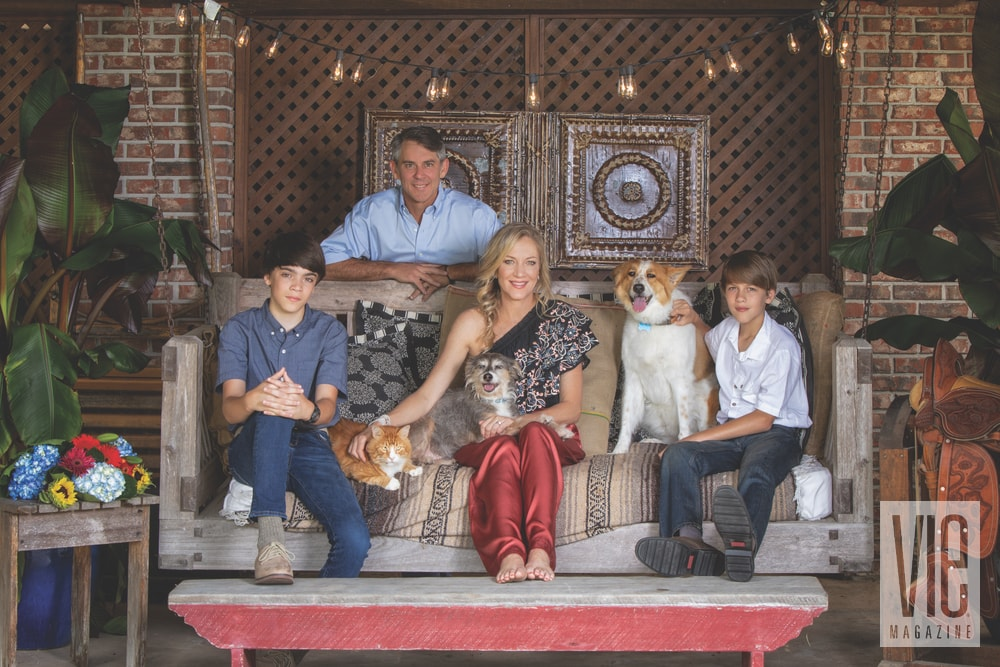 Laurie and Taylor Hood with their two sons, Crockett and Garner, along with their dogs, Kylie and Moonpie, and cat, Red