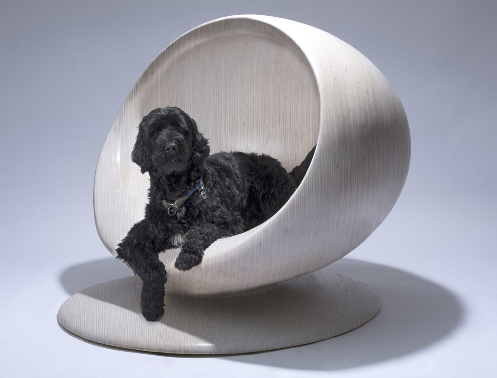 A dog posing in his dog house