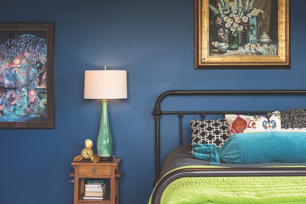 custom-blended blue with a teal undertone wall
