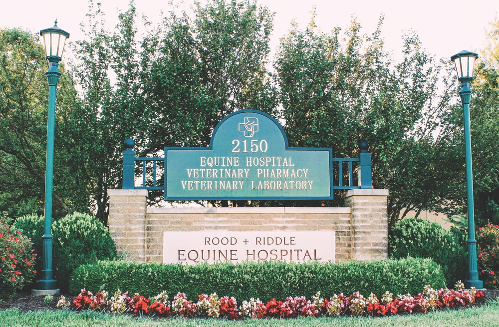 The entrance to Rood & Riddle Equine Hospital, which opened in 1986—a far cry from its humble beginnings in a garage just four years earlier