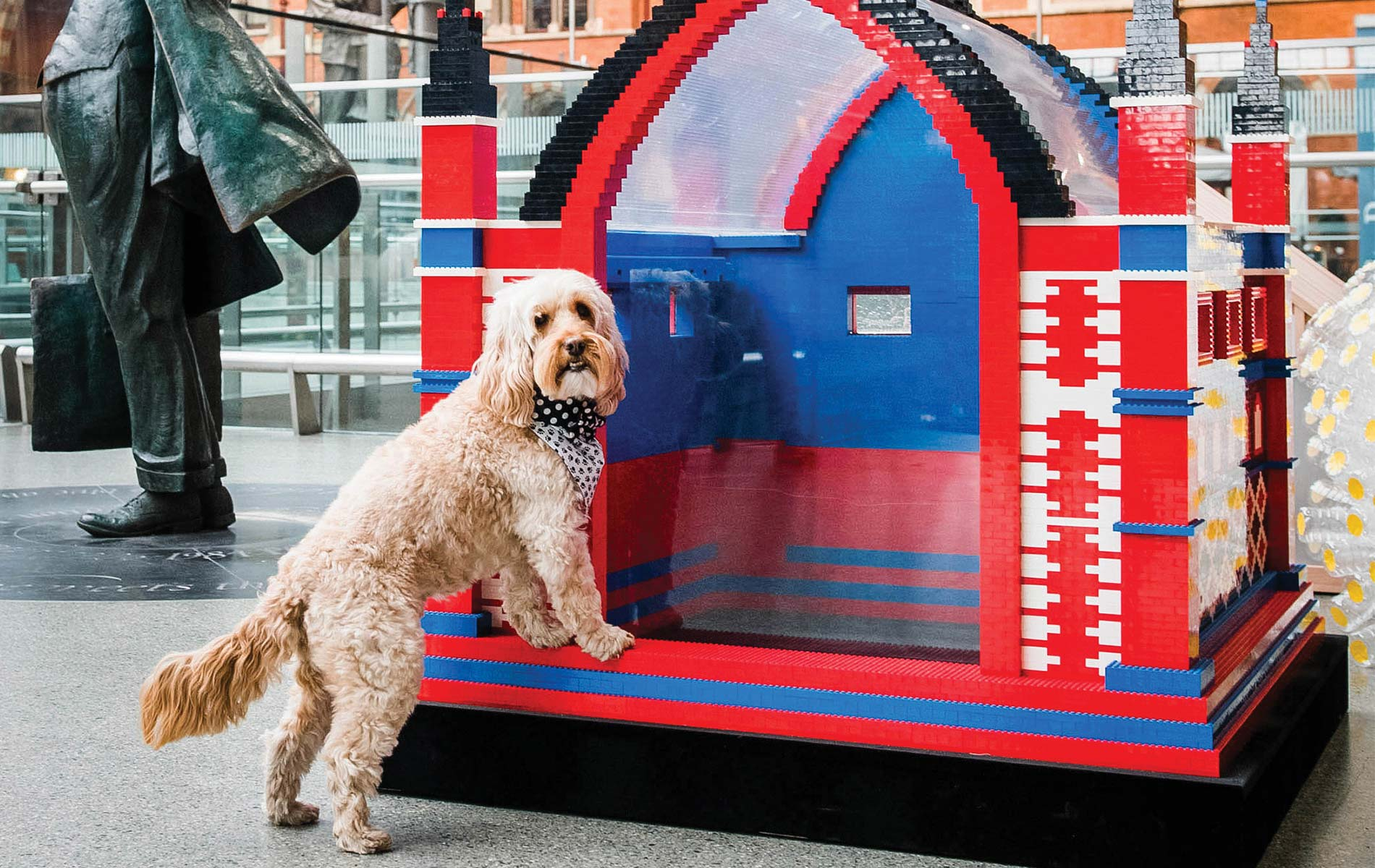 This creative example of barkitecture was made from Legos for the 2018 BowWow Haus and displayed at Saint Pancras International Railway Station, London.