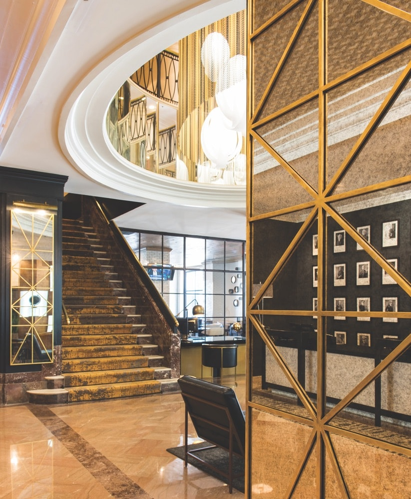 The exceptional lobby at The Admiral Hotel showcases the multimillion-dollar interior renovation and celebrates its art deco origins.