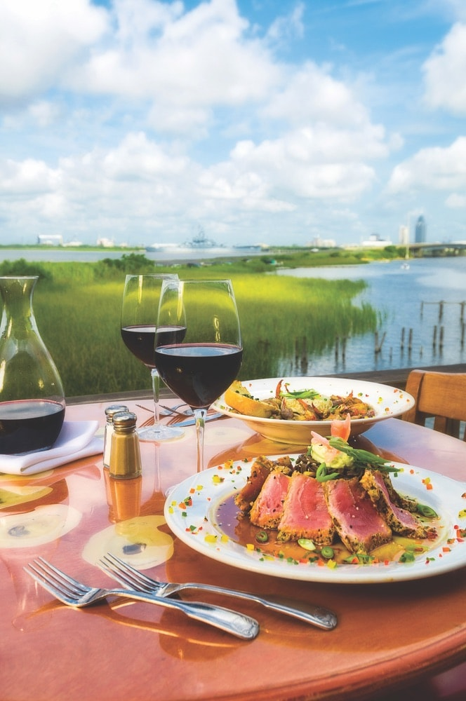 Dinner with a view at Ed's Seafood Shed along Mobile Bay.