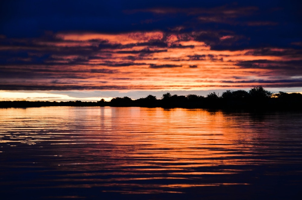 A glorious sunset on the Okavango River.