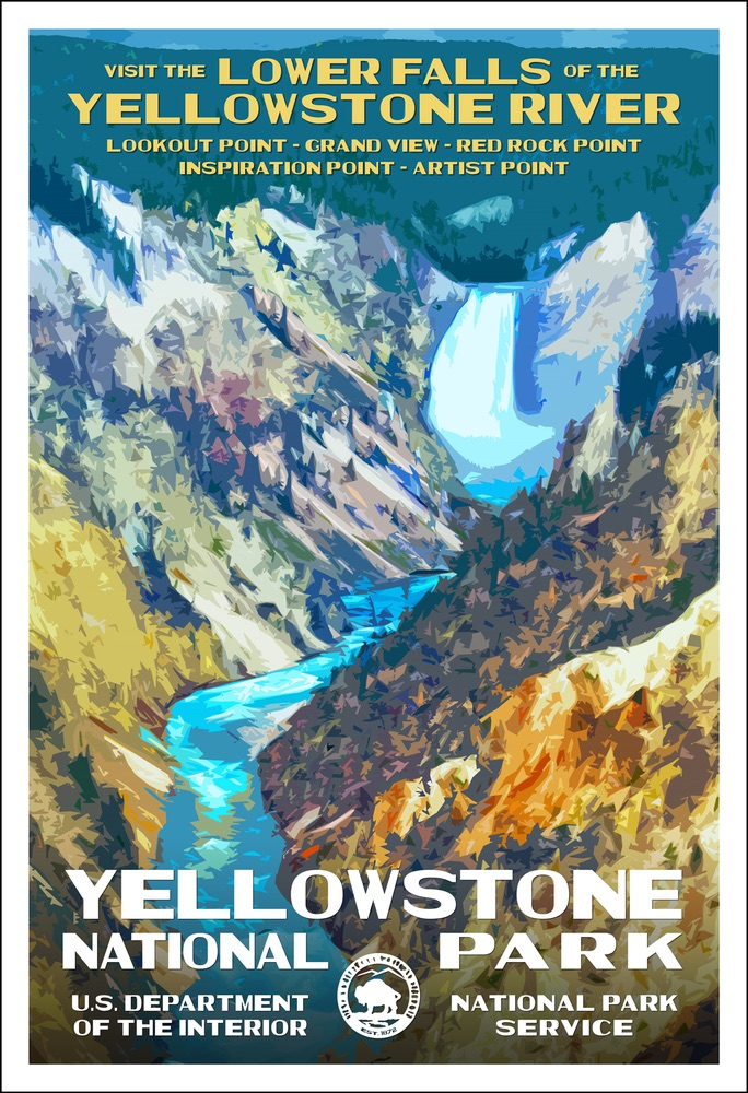 National Park Poster of Yellowstone National Park by Rob Decker