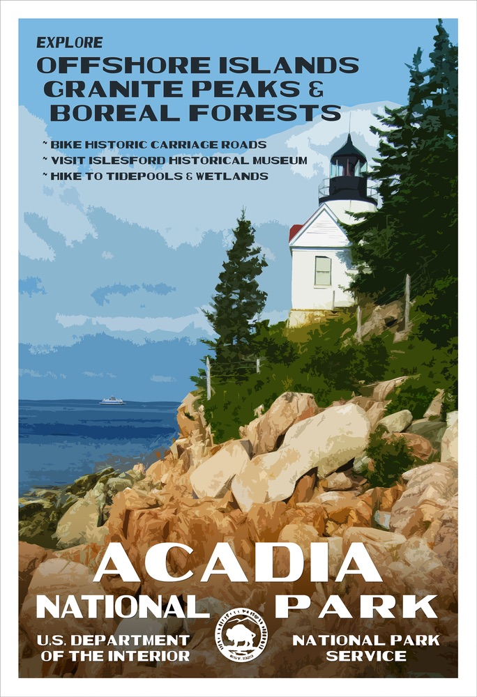National Park Poster of Acadia National Park by Rob Decker