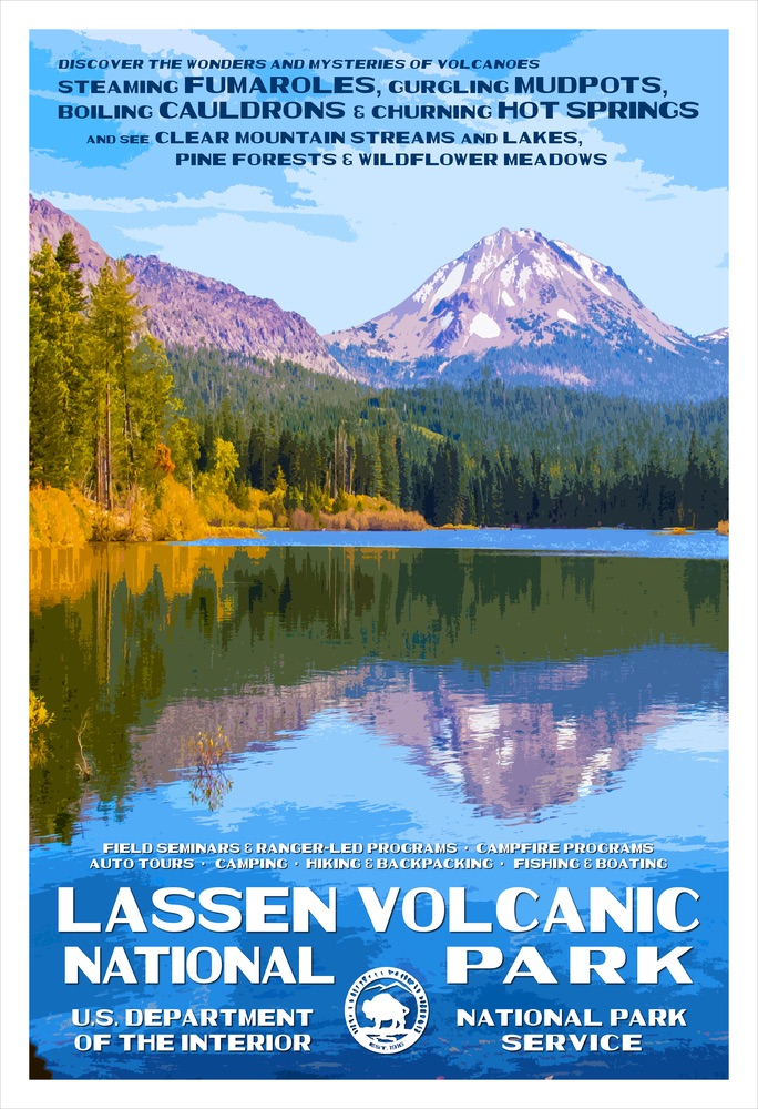 National Park Poster of Lassen Volcanic National Park by Rob Decker