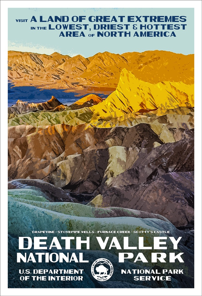 National Park Poster of Death Valley National Park by Rob Decker