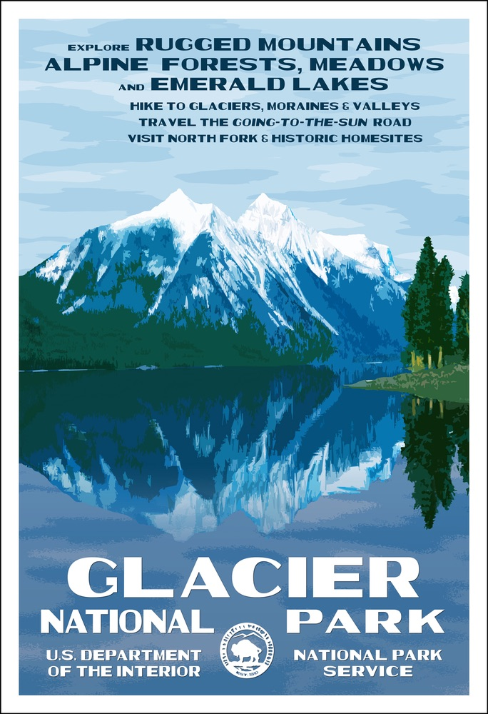 National Park Poster of Glacier National Park by Rob Decker