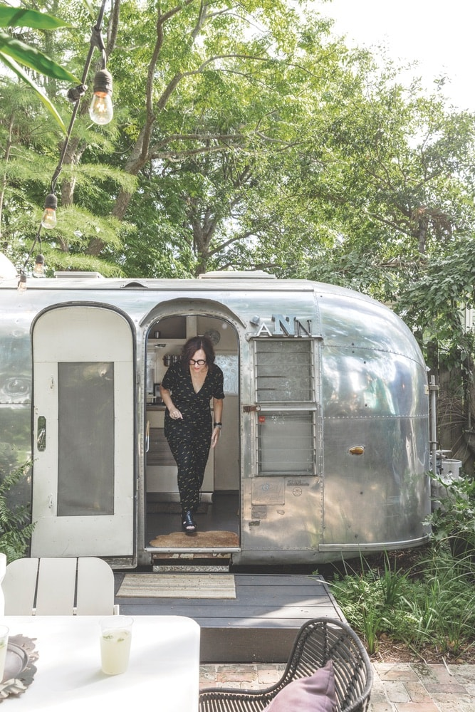 Dupré's prized Airstream trailer, Ann, was named for her grandmother. It provides a whimsical and cozy getaway right in her backyard.