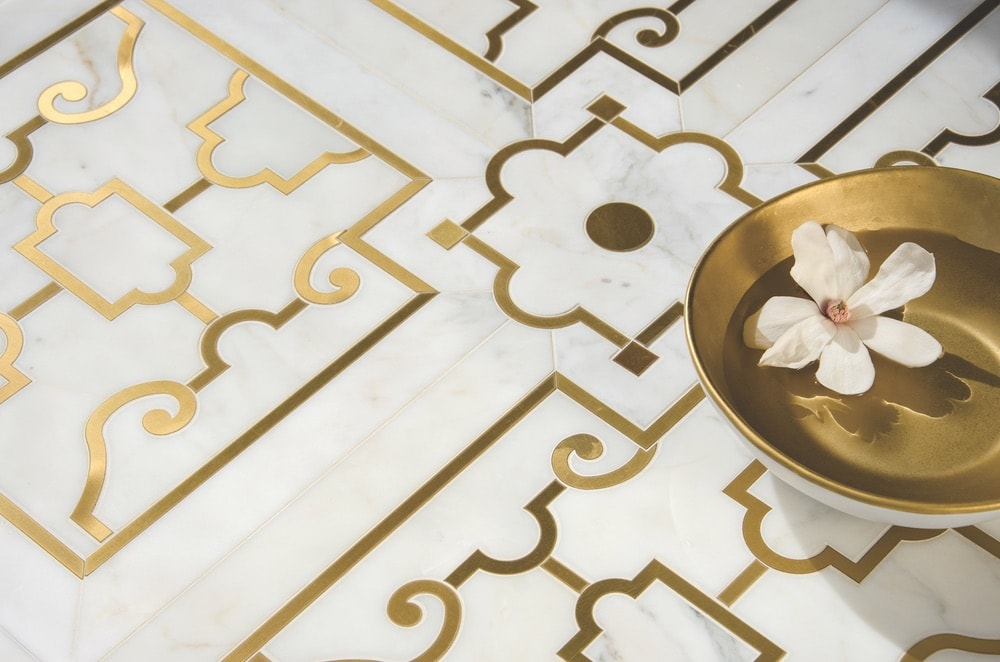 Jardin de Versailles in polished Calacatta Gold and Brass is part of the Jardins Français collection by Caroline Beaupere for New Ravenna.