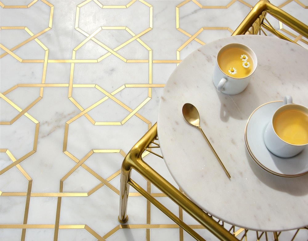 New Ravenna gold and white flooring tile